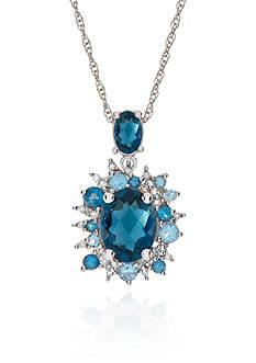 Belk & Co. Blue Topaz and Diamond Pendant in Sterling Silver