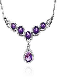 Belk & Co. Amethyst and White Topaz Necklace in Sterling Silver