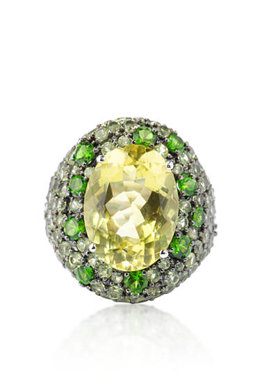 Belk & Co. Lemon Quartz, Chrome Diopside, and Peridot Ring in Sterling Silver