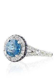 Belk & Co. London Blue Topaz, White Topaz, and Iolite Ring in Sterling Silver
