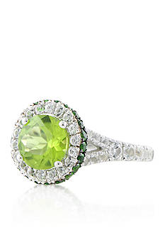 Belk & Co. Peridot, Chrome Diopside, and White Topaz Ring in Sterling Silver
