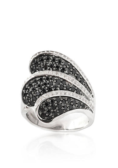 Belk & Co. Black Spinel and White Topaz Ring in Sterling Silver