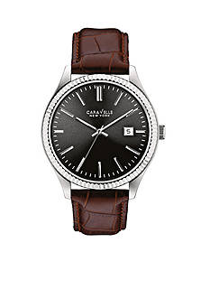 Caravelle New York Men's Brown Leather Watch