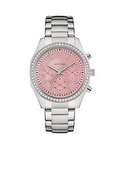 Caravelle New York Women's Silver-Tone and Pink Crystal Watch