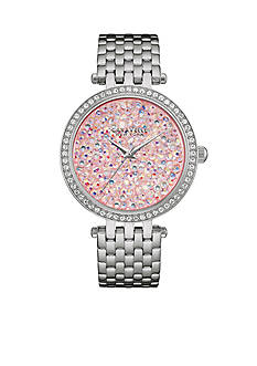 Caravelle New York Women's Stainless Steel Pink Crystal Watch