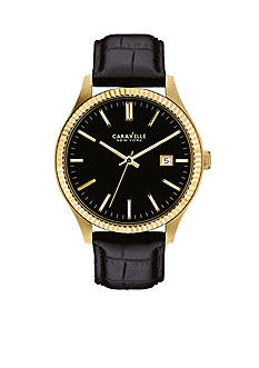 Caravelle New York Men's Black Leather and Gold-Tone Watch