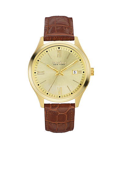 Caravelle New York Men's Brown Leather and Gold-Tone Watch