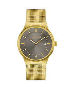 Caravelle New York Men's Gold-Tone Mesh Watch