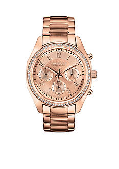 Caravelle New York Women's Rose Gold-Tone and Crystal Watch