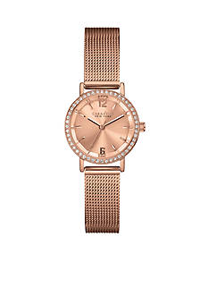 Caravelle New York Rose Gold-Tone Watch with Mesh Band