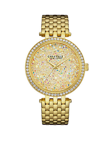 Caravelle New York Women's Gold-Tone Champagne Crystal Watch