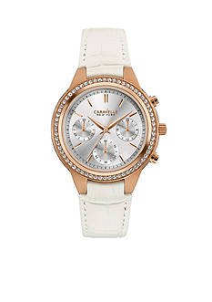 Caravelle New York Women's Rose Gold-Tone Chronograph Leather Watch