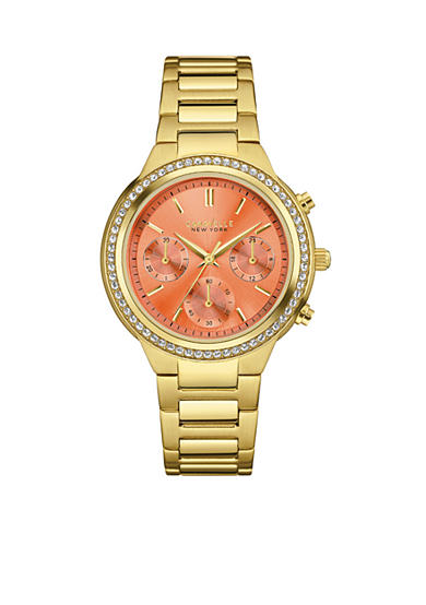 Caravelle New York Women's Gold-Tone Crystal Boyfriend Chronograph Watch