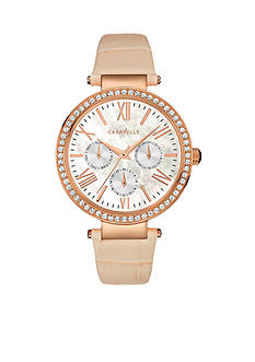 Caravelle New York Women's Tan and Rose Gold-Tone Watch