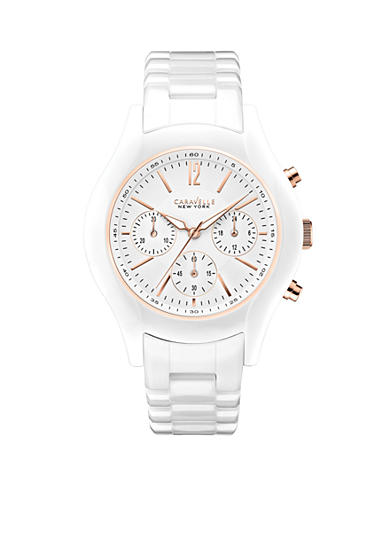 Caravelle New York Women's White and Rose Gold-Tone Ceramic Watch
