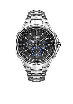 Seiko Men's Radio Sync Solar Chronograph Silver-Tone with Black Dial Watch