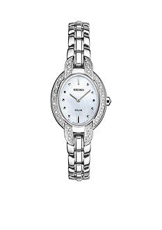 Seiko Ladies Tressia Solar Silver Tone with Diamond Accents of Dial and Case Watch