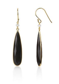 Argento Vivo Black Onyx Teardrop Earrings in 18K Yellow Gold Over Sterling Silver