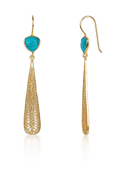 Argento Vivo Turquoise Elongated Filigree Drop Earrings in 18k Yellow Gold Over Sterling Silver