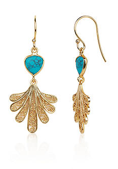Argento Vivo Turquoise Fan Filigree Drop Earrings in 18k Yellow Gold Over Sterling Silver