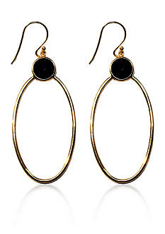 Argento Vivo Black Onyx Oval Circle Drop Earrings set in 18K Gold Over Sterling Silver