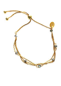 Argento Vivo 18K Yellow Gold over Sterling Silver Adjustable Labradorite Bracelet