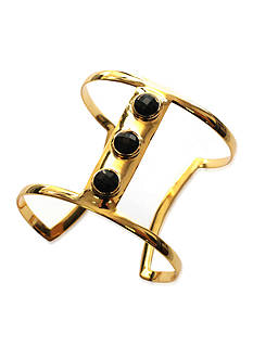 Argento Vivo Wide 3 Black Onyx Stone Cuff Set in 18K Gold Over Sterling Silver
