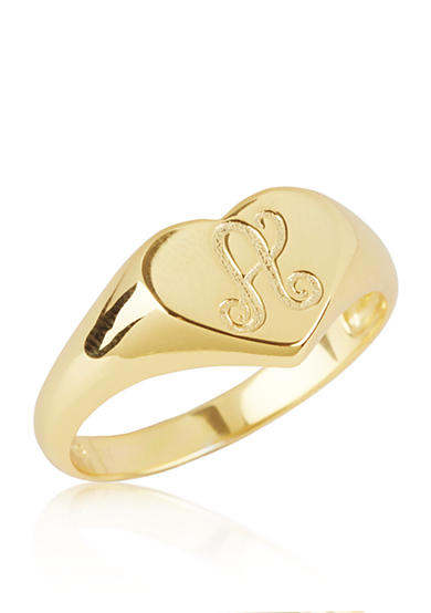 Argento Vivo A Initial Heart Signet Ring in 18k Yellow Gold over Sterling Silver