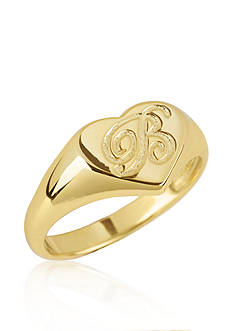 Argento Vivo B Initial Heart Signet Ring in 18k Yellow Gold over Sterling Silver