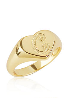 Argento Vivo C Initial Heart Signet Ring in 18k Yellow Gold over Sterling Silver