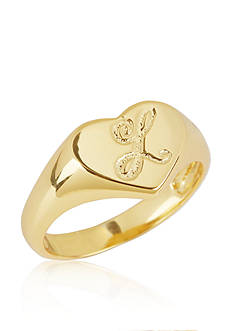 Argento Vivo L Initial Heart Signet Ring in 18k Yellow Gold over Sterling Silver