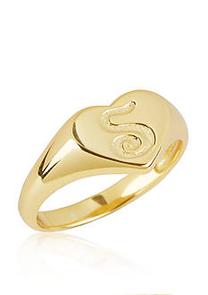 Argento Vivo S Initial Heart Signet Ring in 18k Yellow Gold over Sterling Silver