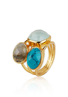 Argento Vivo Labradorite, Aqua Chalcedony, and Turquoise Ring in 18k Yellow Gold over Sterling Silver