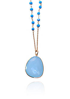 Argento Vivo Aqua Chalcedony and Turquoise Necklace in 18k Yellow Gold over Sterling Silver