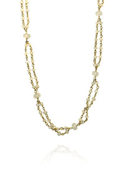 Argento Vivo Moonstone Rondelle Necklace in 18K Yellow Gold Plated over Sterling Silver
