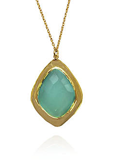 Argento Vivo Blue Chalcedony Pendant Necklace in 18k Yellow Gold over Sterling Silver