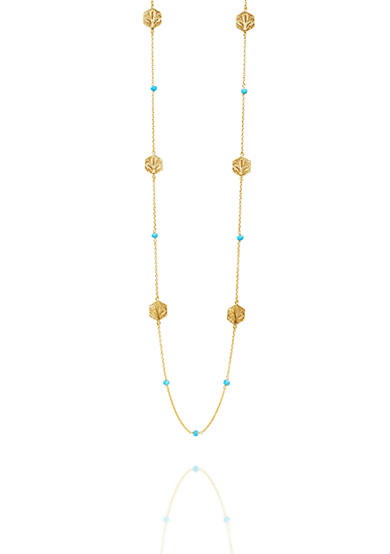 Argento Vivo Turquoise Filigree Station Long Strand Necklace in 18k Yellow Gold Over Sterling Silver