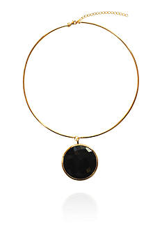 Argento Vivo Black Onyx Collar Pendant in 18K Yellow Gold Over Sterling Silver