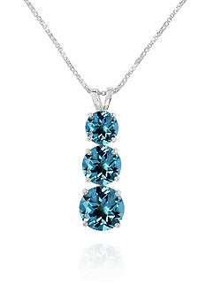 Belk & Co. 3-Stone Graduating Round Swiss Blue Topaz Pendant in Sterling Silver