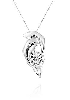 Belk & Co. Diamond Dolphin Pendant Necklace in Sterling Silver
