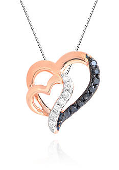 Belk & Co. Black and White Diamond Heart Pendant Necklace in 10k Rose Gold