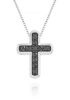 Belk & Co. Black Diamond Cross Pendant Necklace in Sterling Silver