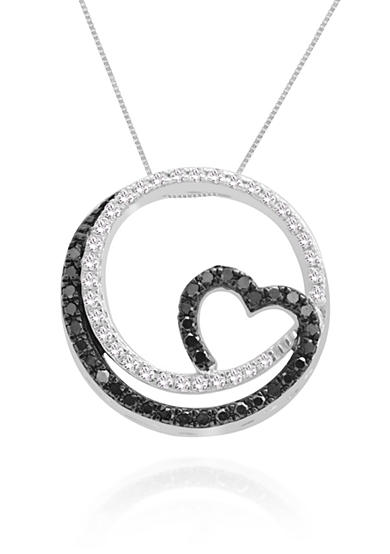 Belk & Co. Black and White Diamond Pendant Necklace in Sterling Silver