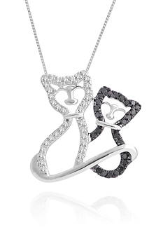 Belk & Co. Black and White Diamond Cat Pendant in Sterling Silver