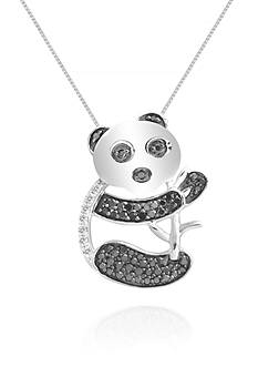 Belk & Co. Diamond Black and White Koala Bear Pendant Necklace in Sterling Silver