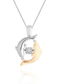 Move My Heart Diamond Accent Dolphin Pendant set in 14k Yellow Gold and Sterling Silver