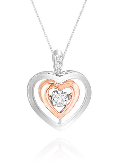 Move My Heart Diamond Accent Heart Pendant set in 14k Rose Gold and Sterling Silver