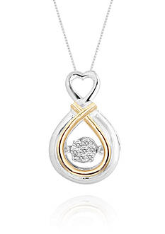 Move My Heart Diamond Accent Heart Pendant set in 14k Yellow Gold and Sterling Silver