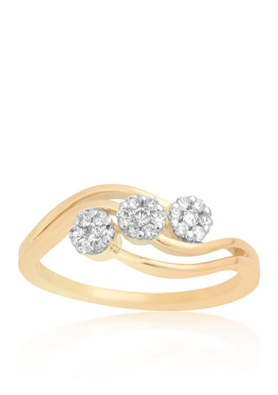 Belk & Co. Diamon Cluster Ring in 10k Yellow Gold