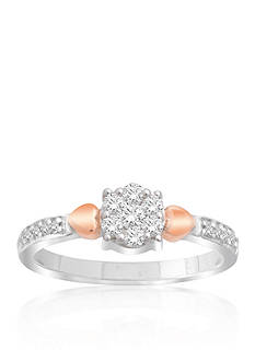 Belk & Co. Diamond Cluster Heart Ring in 10k White and Rose Gold